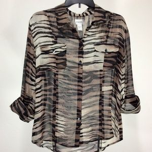 Chico's Tops - Chicos Sexy Sheer 100% Silk AnimalPrint Sz1 C288
